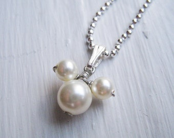 DISNEY - Mickey Mouse Themed Swarovski Pearl and Sterling Silver Necklace - Choose Your Color