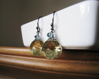 Lemon Quartz Dangle Earrings - Swarovski Crystal Accent and Oxidized Sterling Silver - LARISSA