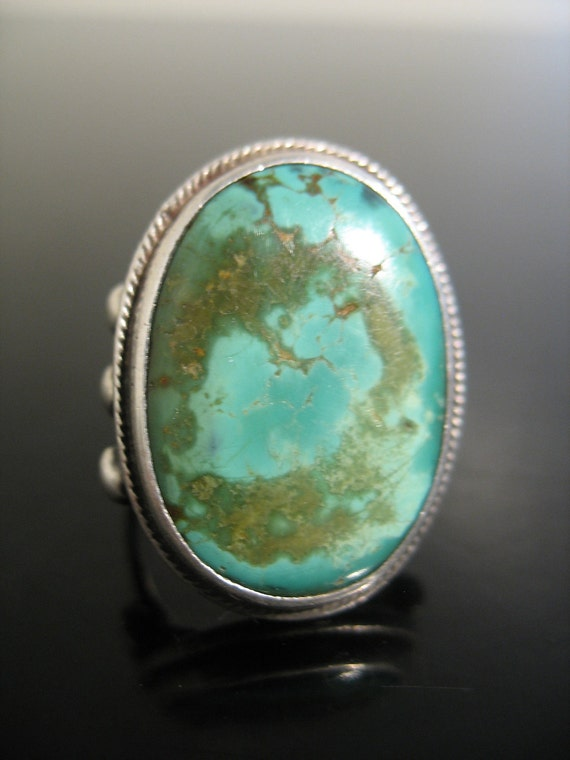 """Vintage Sterling Silver TURQUOISE Ring PAWN """"RARE"""""""