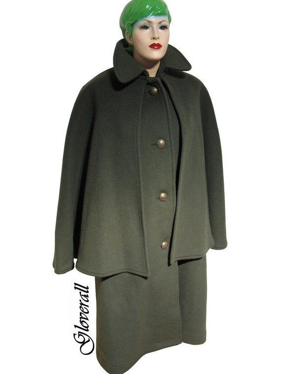 "Vintage ""GLOVERALL""Hunter's Green Wool ""SWING"" Coat - ENGLAND Women's Medium"