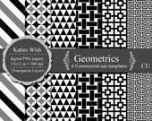Geometric Overlay templates, digital layered templates for digital scrapbooking, card making, invites