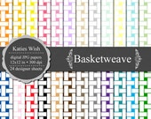 Instant Download Basketweave Digital Paper Commercial Use Kit 12x12 inch jpg files