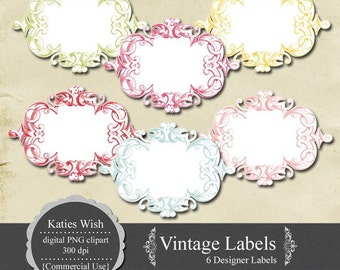 Digital Journaling Tags PNG clipart Vintage Labels Instant Download for scrapbooking, invites, photo cards