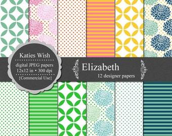 Elizabeth Digital Paper Set  Instant Download CU jpg files for scrapbooking, photo cards, web design