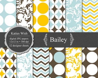 Bailey Digital Paper Kit 12x12 inch printable jpg sheets Instant Download