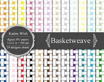 Instant Download Basketweave Digital Paper Commercial Use Kit 12x12 inch jpg files