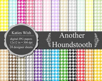 Another Houndstooth Digital Scrapbook Paper 12 x12 inch 300 dpi jpg Commerical Use Instant Download