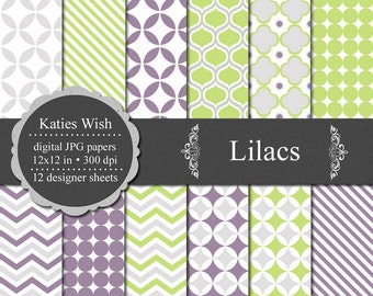 Lilacs Digital Paper Commercial Use Kit  12x12 inch  jpgs Instant Download