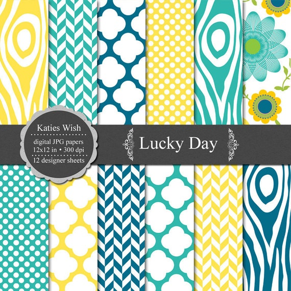 Digital Scrapbook Paper Kit 12x12 inch jpg Instant Download - Lucky Day