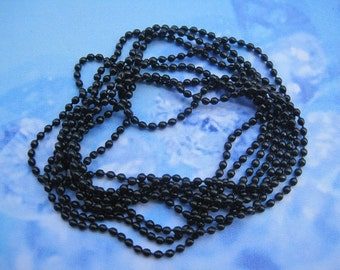 100pcs 2.0mm 27 inch black ball chain necklace with matching connector