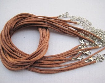 SALE 30pcs 18 inch 2mm light brown satin necklace cord with 2 inch extension chain