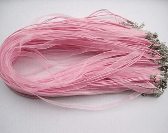 SALE 50pcs 18 inch pink ribbon necklace cord with 2 inch extension chain
