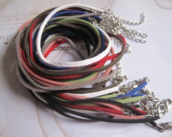 SALE 20pcs 18 inch 3mm assorted color flat korea velvet necklace cord with 2 inch extension chain