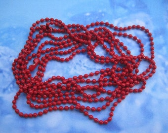 25pcs 2.0mm 27 inch red ball chain necklace with matching connector
