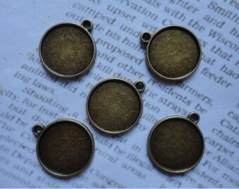 15Pcs 25mm Antique Bronze Plated Brass Cabochon Base frame Base for making resin photo necklaces and pendants