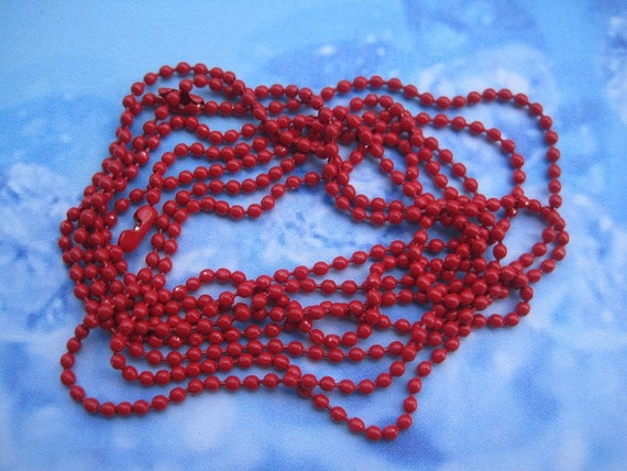 30pcs 2.0mm 27 inch red ball chain necklace with matching connector