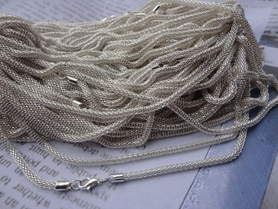 30pcs 3.5mm 17 inch shiny silver plated chain necklace with lobster clasp