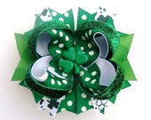 St. Patricks Day sparkle shamrock boutique hair bow