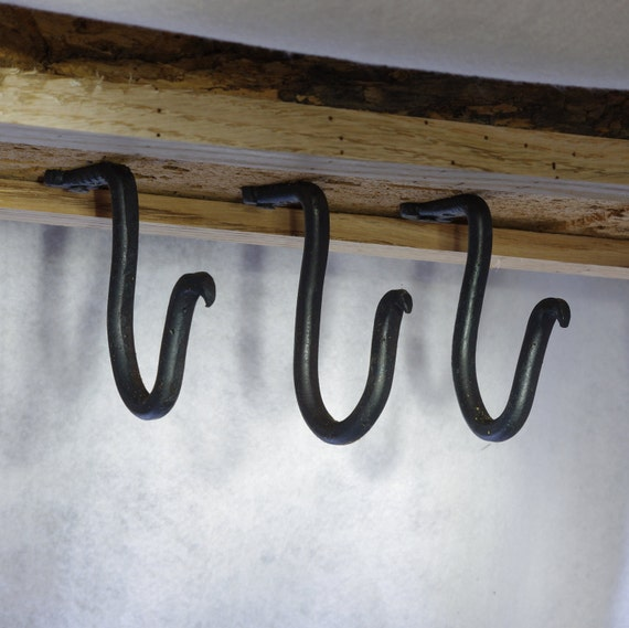 Blackmith Hand Forged Hooks Under Cabinet Or Ceiling Mount