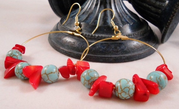 ON SALE MAGNESITE And Coral Beaded Gold Hoops