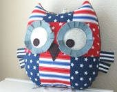 Owl Pillow, Stars and Stripes, Patchwork Owl, Stuffed Animal, Owl Plush Toy, Great Baby Gift, Red White and Blue