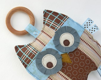 Otto the Patchwork Owl, Baby Toy, Crinkle Toy, Organic Wood Teething Ring, Baby Boy Gift