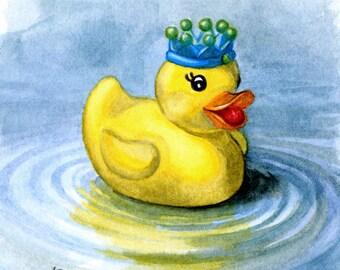 Rubber Ducky, King of the Bathtub, Duck Art, Bathroom Art, Nursery Wall Art print 5x5, 8x8, 11x11