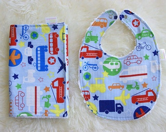 Bib and Burp Cloth Set, Baby Boy Gift, To the Rescue