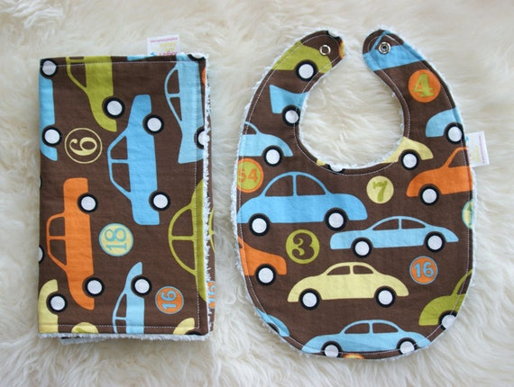 Bib and Burp Cloth Set, Baby Boy Gift, Cars in Brown