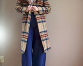 VTG 60s 70s plaid Hugh Collar boho TRENCH SPY coat jacket Belted wool Hippie