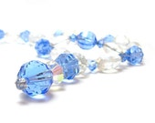 Glass Bead Necklace SALE Vintage Mid Century 1940s Clear Faceted Azure Blue
