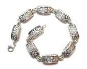 Sterling Silver Bracelet Vintage Filligree Organic Art Nouveau Style Polish Jewelry 1980s Poland