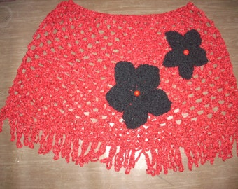Red and black original poncho hand crocheted and knitted