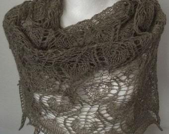 Natural beige lacy triangle luxurious merino alpaca silk Sandy Leaves shawl