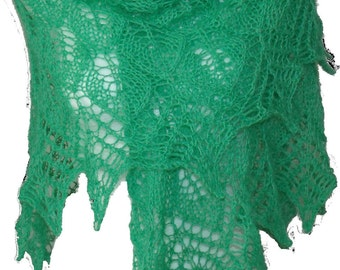 Hand knitted lace triangle wool shawl wrap Green Leaves