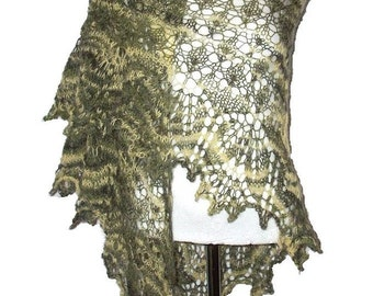 Olive green & yellow triangular angora lacy shawl Sunrise In Forest  scarf  woman girl gift OOAK