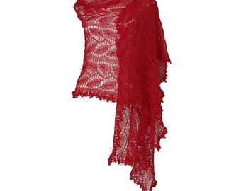 Strawberry red  lacy exclusive cashmere silk wedding bridal  stole scarf rectangle shawl OOAK