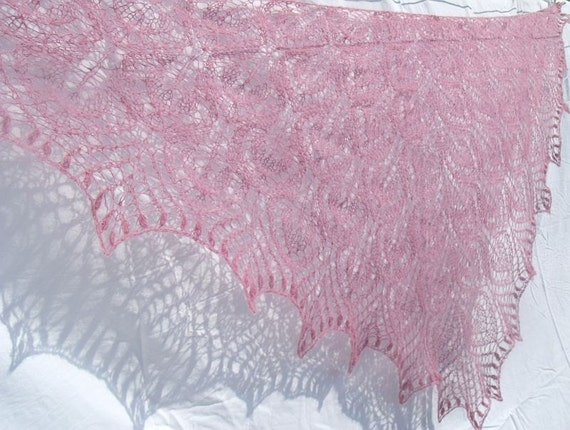 Pink  Wind hand knitted lacy kid mohair triangle shawl with nupps OOAK