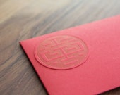 Letterpress double luck money envelope with matching card