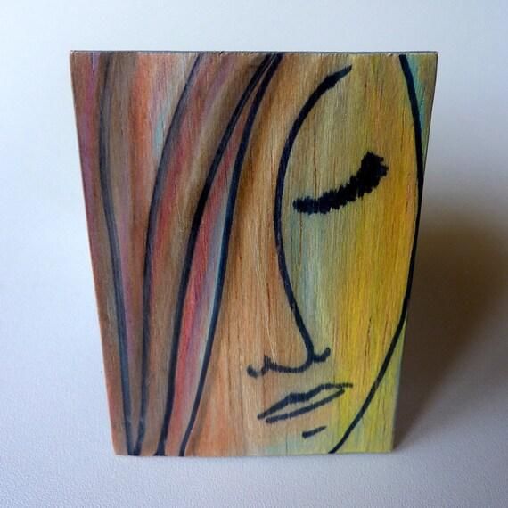Original Art - ACEO Painting - Miss Brunette - Stylized Miniature Portrait on Wood