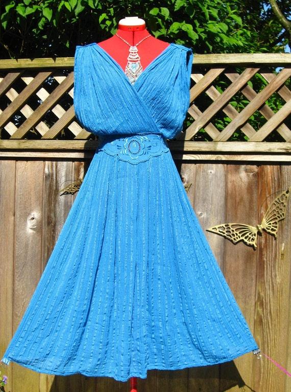 Vintage TURQUOISE GRECIAN Goddess Gauze Dress