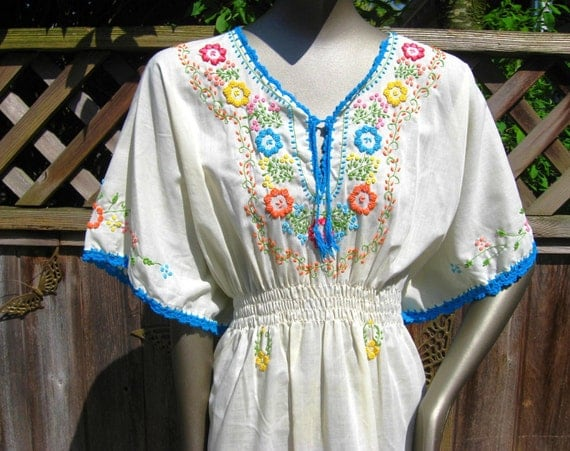RESERVED for WeeMonkey  Vintage Ethnic Embroidered Butterfly Sleeve Hippie Caftan Dress