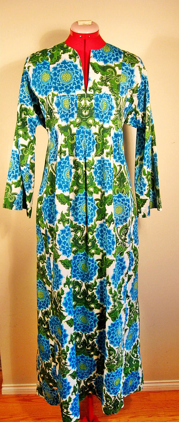 Vintage 60s Mid Century Paisley Caftan Dress L XL