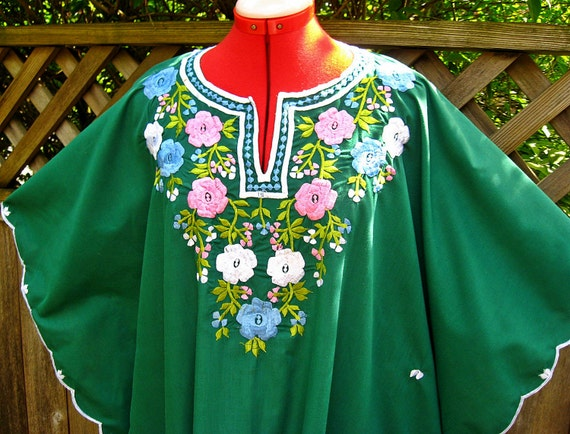 Vintage 70s Ethnic Embroidered Hippie Caftan Dress OS