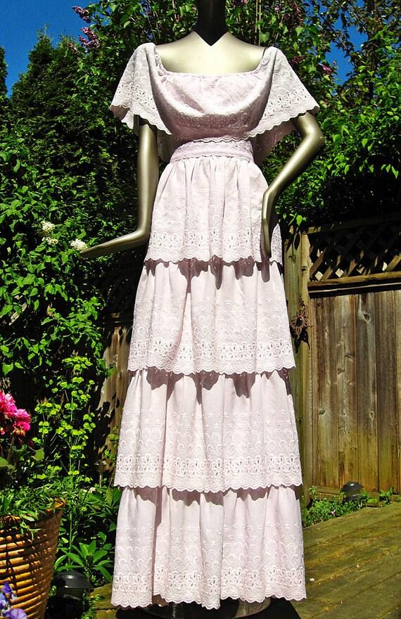 Vintage 70s Off the Shoulder Multi Tier Pink EYELET SunDress XS