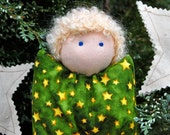 Waldorf  Doll Angel Christmas Yule Solstice 6 Inch Snowman Boy or Girl Blonde Curly Hair