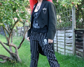 """Vintage Tailcoat with crystal skull design back 36"""" - LOT1"""