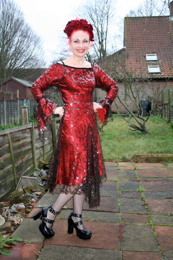 REDUCED Dark Red sequin and mesh flapper style dress - larger size