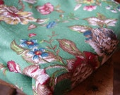 Vintage 1960's Heavy Weight Floral Cotton Green