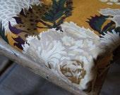 Vintage 1960's Medium Weight Floral Cotton Rust